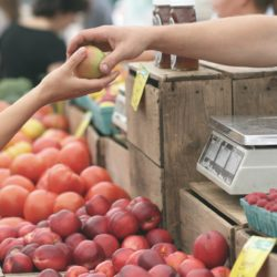 Buying apples at the farmers market
