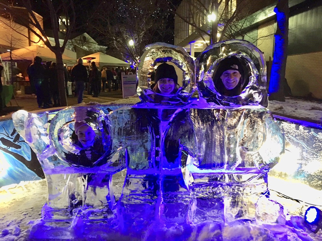 Ice sculpture at IGNITE the Winter! Fest in Auburn NY